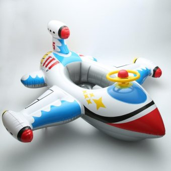 Harga Cartoon Aircraft Shape with Horn Float Inflatable Children Floaties Baby Swimming Seat (White) - intl