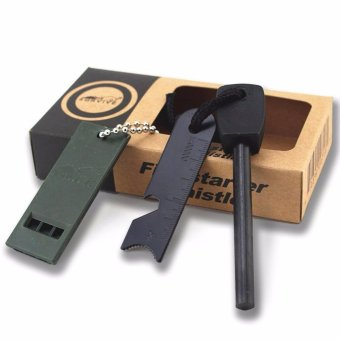 Harga Outdoor Survival Magnesium Fire Starter Flint Stone Whistle Siul Korek api gesek darurat kemping outdoor