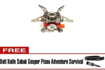 Harga Halona - Kompor Gunung Bonus + Belt Knife Sabuk Gesper Pisau For Survival/Portable Mini Gas Kaleng For Camping/Hiking/Adventure And Survival - Merah