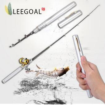 Leegoal Campuran Aluminium Roda Drum Mini Pocket Fishing Rod Joran Bentuk Pena (Perak)