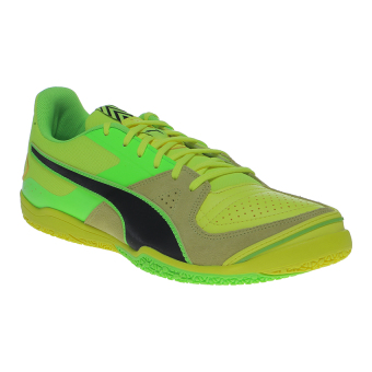 Harga Puma Invicto Sala Futsal Shoes - Safety Yellow-Puma Black-Green Gecko