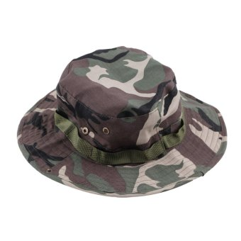 Harga Allwin Fishing Hiking Boonie Snap Brim Military Bucket Sun Hat Cap Woodland Camo