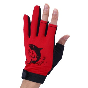 Waterproof Fishing Gloves Hunting Cyling 3 Cut Finger Anti-Slip Non-Slip Pair -