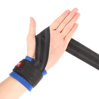 Angkat berat Bar grip tali pergelangan tangan mendukung pelatihan olahraga membungkus Bangage sarung tangan biru