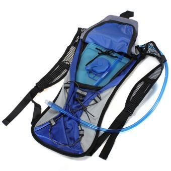 Kantong air/tas kantong ransel backpack sepeda Blue + 2L mulut hidrasi tas kantong air untuk olahraga sepeda berkemah mendaki pendakian - Internasional