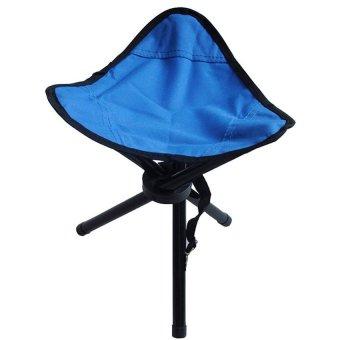 Lipat Kursi Memancing Folding Three Legged Beach Stool Chair - Blue