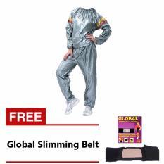Lucky Sport Sauna Suit Baju Sauna Pembakar Lemak - Silver + Korset Pelangsing Tubuh / Perut - Slimming Belt Sabuk Kesehatan Global