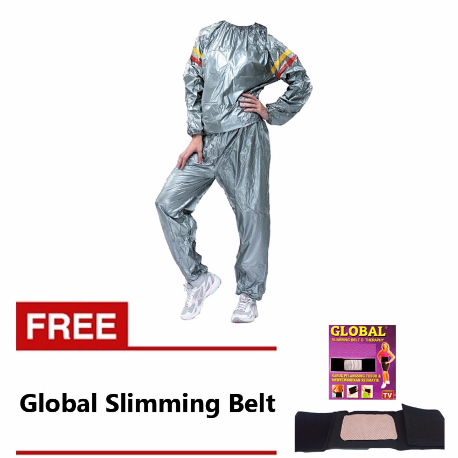 Lucky Sport Sauna Suit Baju Sauna Pembakar Lemak - Silver + Korset Pelangsing Tubuh / Perut