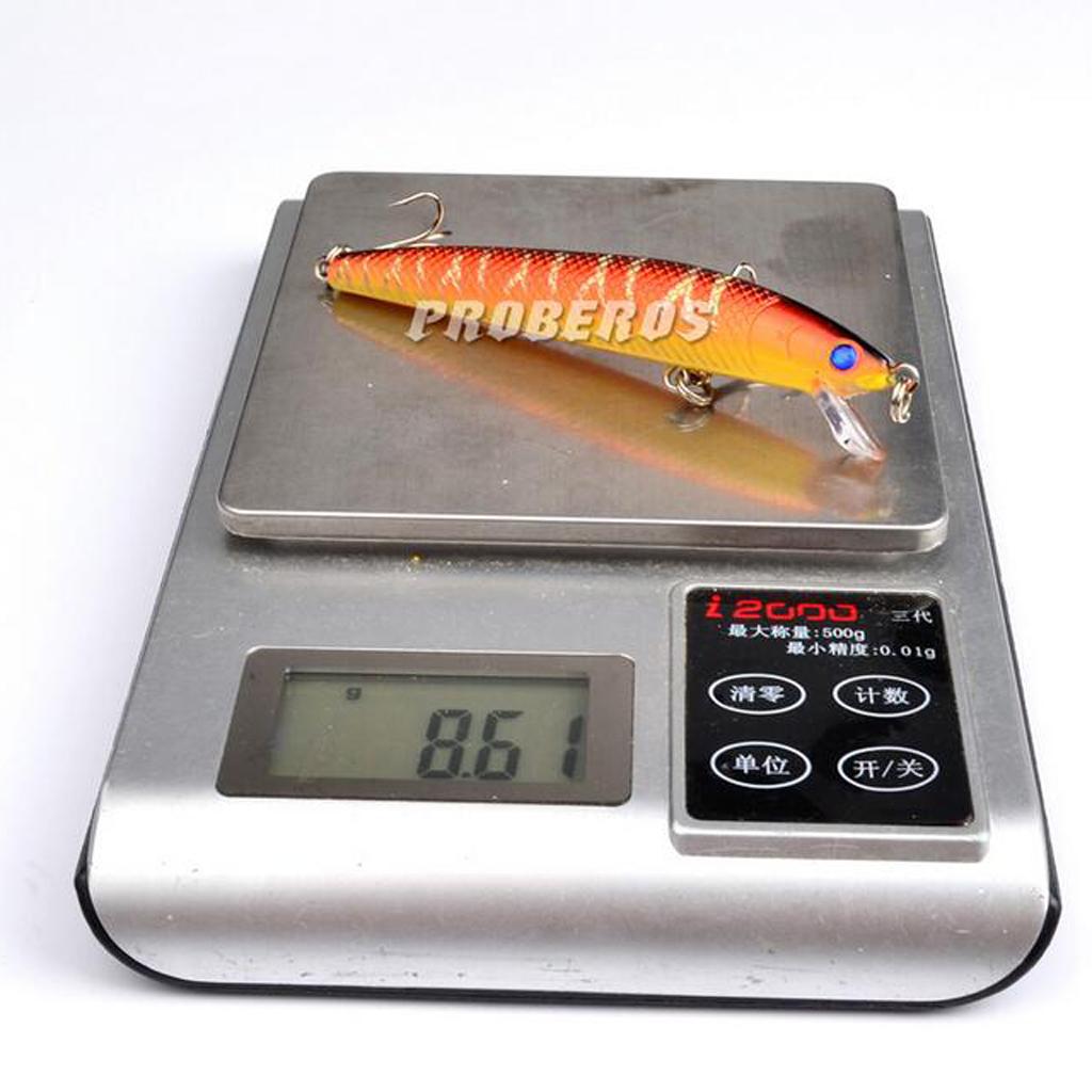 MagiDeal 10 buah pensil memancing umpan keras ikan kecil memancing kait Treble -