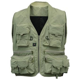 Men's Multifunction Pockets Travels Sports Fishing Vest OutdoorVest L Khaki Color:Green Size:XL - intl