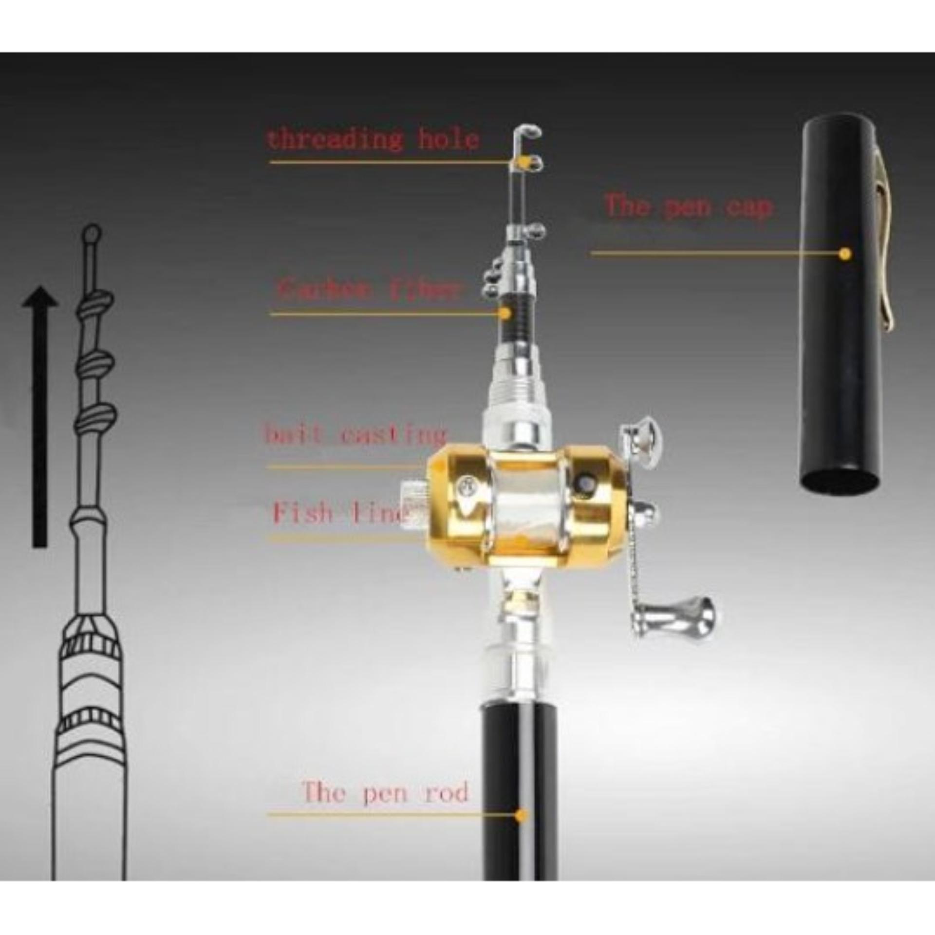 Terbaik Murah Mini Telescopic Portable Pocket Aluminum Alloy Pen Extreme Fishing Rod Length 1m Pancing Pena Polereel Black Fibre Glass Aluminium Joran