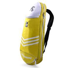 Multifungsi Tahan Air Tas Bulutangkis Olahraga Tenis Backpack Bag 3 Raket (Kuning)-Intl
