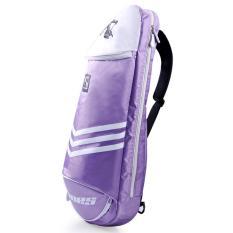 Multifungsi Tahan Air Tas Bulutangkis Olahraga Tenis Backpack Bag 3 Raket (Ungu)-Intl