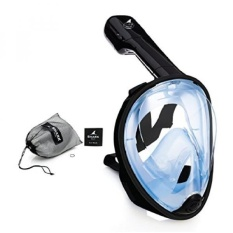 SeaFin Mask Full Face Snorkel Mask Technology. Tubeless Design.Anti-Fogging. Anti-Leaking. Adult and Youth Sizing. (S/M)(Black-Blue) - intl