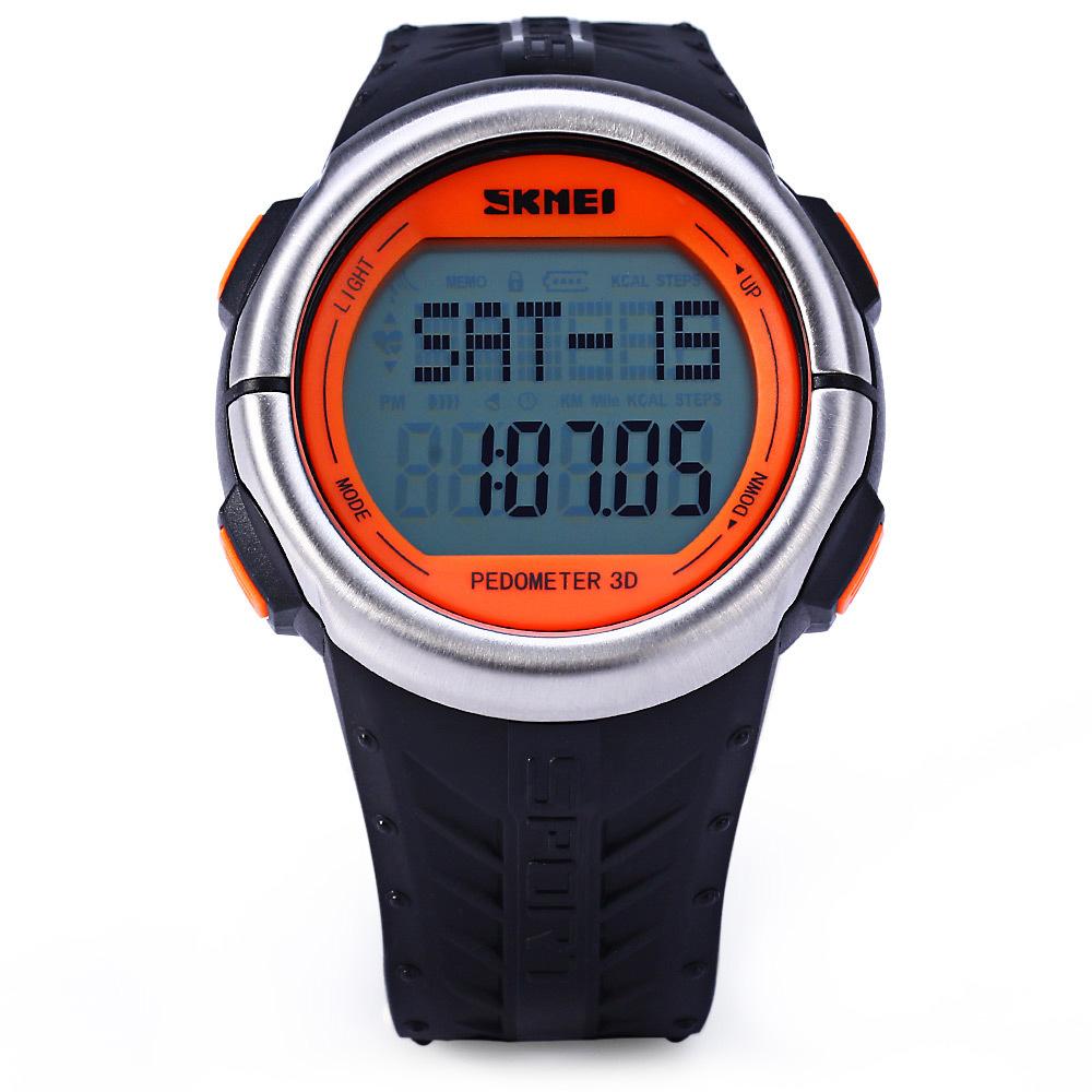 Skmei 1058 LED menonton multifungsi denyut jantung pelacakan alat pengukur langkah jam tangan .