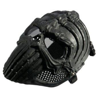 Tengkorak Kerangka Tulang Punggung Militer Taktis Penuh Topeng Berburu Kostum Halloween Hitam 3 .