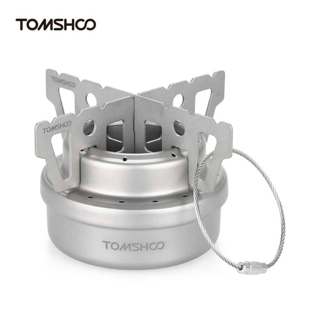 ... TOMSHOO Outdoor Titanium Alcohol Stove & Rack Combo Set Mini Ultralight Portable Liquid Alcohol Stove with ...