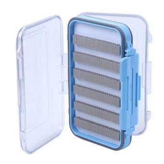 Waterproof Plastic Fly Box Slit Foam Double Side Clear Fly FishingTackle Box Black Color:blue - intl