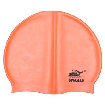 PENAWARAN Whale Flexible Waterproof Silicon Swimming Cap Pure Color ProtectEars Long Hair Sports Swim Pool Hat(Orange) TERMURAH