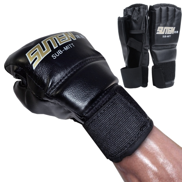 Yika 1 pasang MMA Muay Thai sansak tinju sarung tangan setengahMitt perdebatan (Hitam)