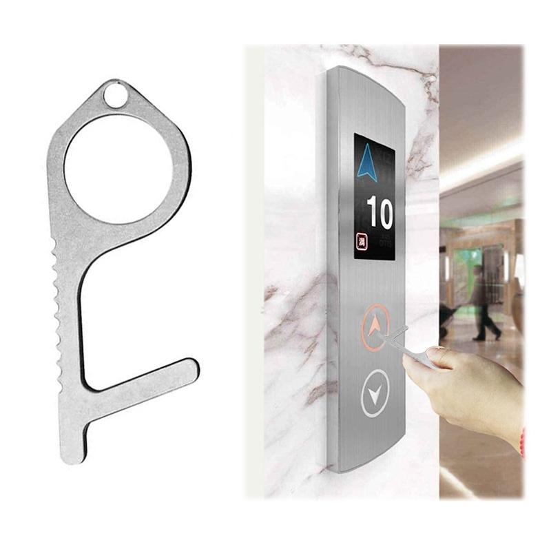 Contactless Safety Door Opener Tool,Brass Alloy Mini Self-Cleaning Handheld Non-Contact Door Opener Stylus,Portable Avoid Contact Elevator Hand Stick 2PCS