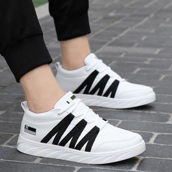 12 putih sepatu anak laki-laki dan perempuan sepatu kasual sepatu olahraga (Putih Hitam)