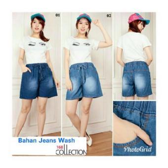 168 Collection Celana Pendek Michie Jeans Pant-Biru Muda ...