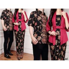 168 Collection Couple Stelan Atasan Blouse Exclusive Kebaya Dan Rok Lilit Batik-Maroon