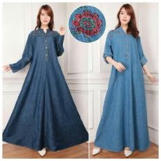 168 Collection Maxi Dress Cathy Jeans Gamis-Biru Tua