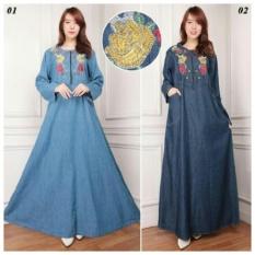 168 Collection Maxi Dress Rahma Jeans Gamis-Biru Tua