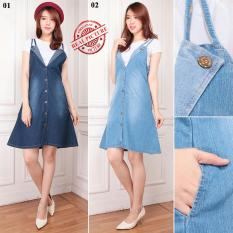 ... 168 Collection Midi Dress Jeans Chacha Overall Biru Tua
