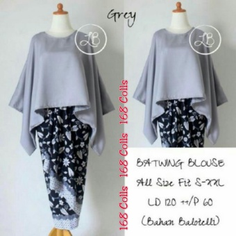 168 Collection Stelan Atasan Blouse Grey Batwing Dan Rok Lilit Batik-Abu ...