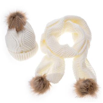 harga 2 buah untuk wanita benang wol merajut diborgol Ski untuk musim dingin hangat desain Kit bola bulu topi syal putih - Internasional Lazada.co.id