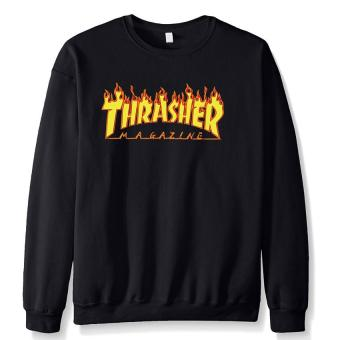 2017 New Autumn Winter Funny Hoodies Sweatshit Harajuku FashionThrasher Sweatshirt Hip Hop Polar Mark Trasher Men Shirts (Black) -intl
