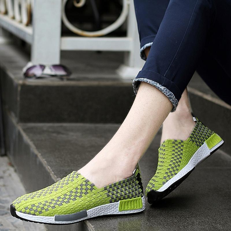 ... 2017 Summer Fashion Breathe Lady Woven Shoes Leisure Flat Running Walking Sneaker(Green) ...