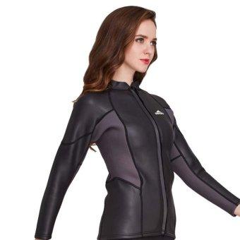 2mm Neoprene Women Long Sleeve Front Zipper Wetsuit Top SwimwearSnorkeling Diving Wetsuits Jacket Rashguard Coat ...