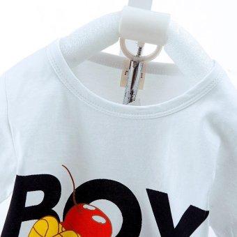 2pcs Fashion High Quality Children Clothes Sets Boy T-shirt + RedShorts Hand Pattern Tops White - intl - 4