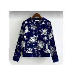 369 Jacket Casual Wanita Motif Floral Babyterry - Navy Blue