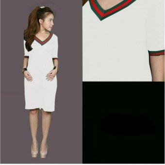 Harga Terbaru 369 Mini Sexy Dress Casual Wanita Motif V Neck Bahan Babyterry - Putih