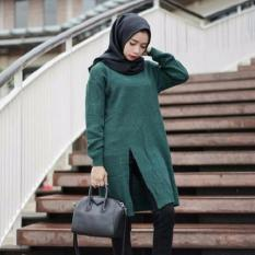 3K Baju Muslim - Slit Sweater Tunic - Rajut Premium - Hijau Army