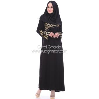 Abaya Shiraz Jetblack Saudi Bordir Gold Black - 4