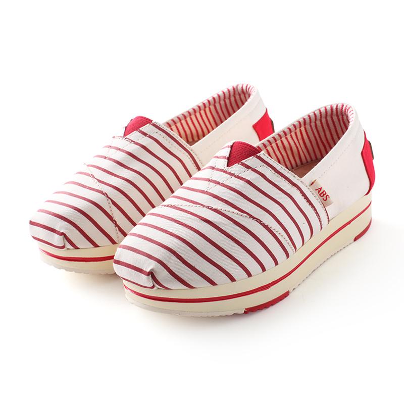 ABS kasual bersol lembut bernapas untuk membantu sepatu kanvas rendah ABS (Garis-garis merah