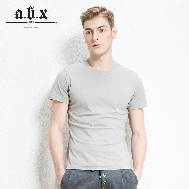 Flash Sale ABX katun laki-laki slim cinta bottoming kemeja warna solid lengan pendek t