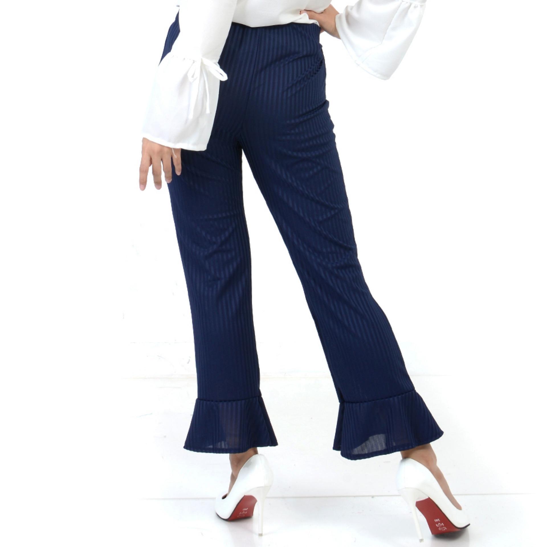 Ace Fashion Axel Cullote Pants - Celana Kulot Wanita - Navy .