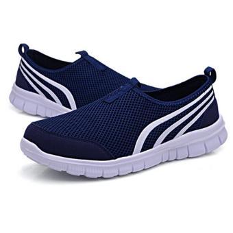 Ai Home Pria Terbaru Sepatu olahraga lari Lari Yang Berjalan Santaiada lubang udaranya datar Sepatu Biru Tua
