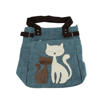 Ai Home Women Canvas Handbag With Cute Cat Appliques Portable Bags(Light Green)