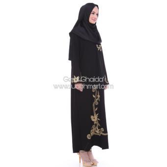 Al Khatib Abaya Gamis Baju Muslim Detty Bordir Gold Jetblack Hitam - 4