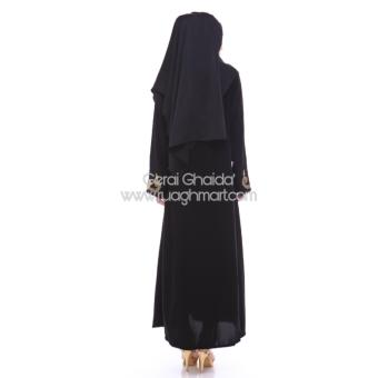 Al Khatib Abaya Gamis Baju Muslim Detty Bordir Gold Jetblack Hitam - 5