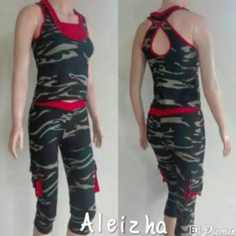 Aleizha Set Baju Senam Celana 3/4 - Army - 2