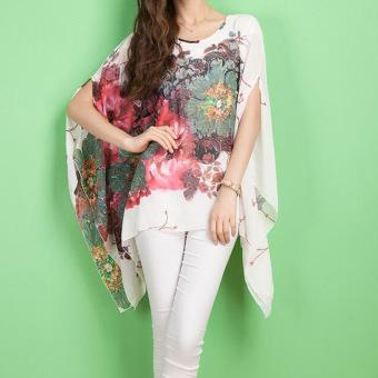 harga Amart-Baju Atasan Wanita untuk Musim Panas Model Batwing Sleeve Loose Chiffon Floral Print Blouse - intl Lazada.co.id